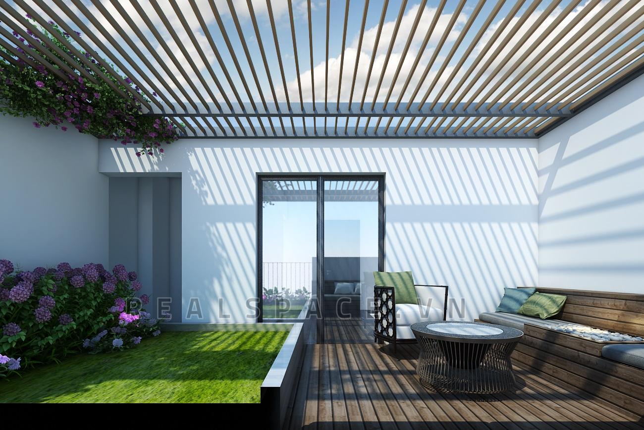 Thiết kế ban công và gác mái nhà Anh Chính - Lào Cai