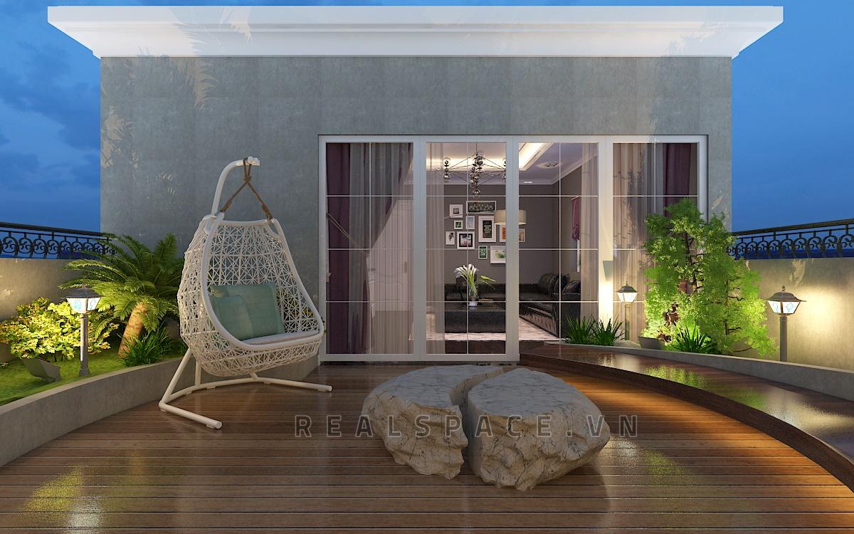 Thiết kế sân thượng biệt thự tại Ninh Hiệp, Hà Nội